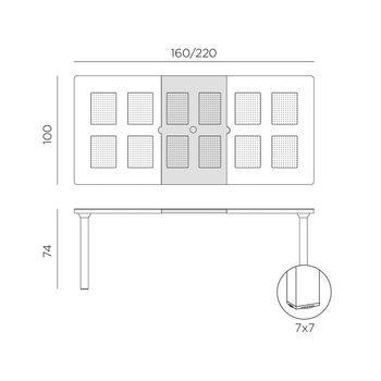 Стол раздвижной Nardi LEVANTE ANTRACITE vern. antracite 47052.02.000 (Стол раздвижной для сада и террасы)