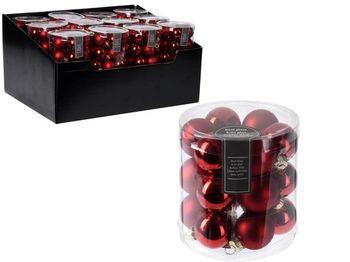 Набор шаров 18X30mm, в цилиндре, 9матов, 9глянц, красн