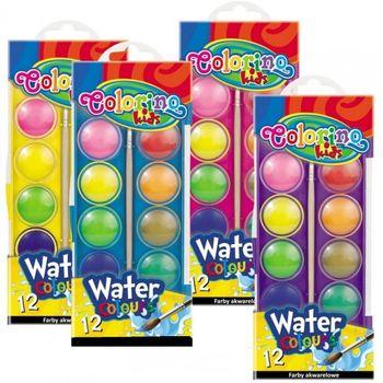 Акварельные  краски маленькие 12 цв +кисточка Colorino