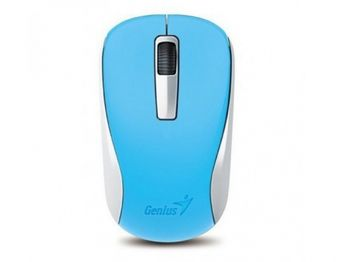 Mouse Genius NX-7005 Blue, Wireless 2.4GHz Optical Mouse, Nano receiver, 1200 dpi, Extends battery life up to 18 months, Battery Low Indicator, Rubber hand grip, Slot receiver, USB, Blue