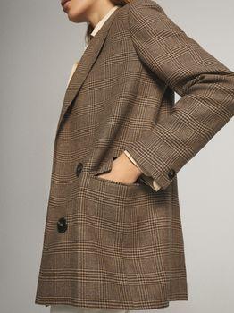 Пиджак Massimo Dutti Коричневый в клетку 6040/540/704