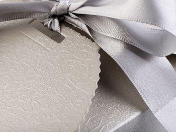 Cutie cadou cu panglică / argintiu