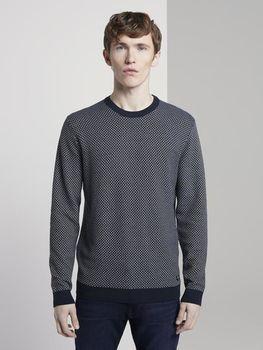 Трикотаж Tom Tailor Tемно-синий мини-структурированная полоска tom tailor 1017410