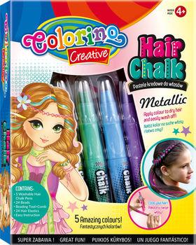 Мелки для волос 5 шт. + аксессуары Metallic Colorino