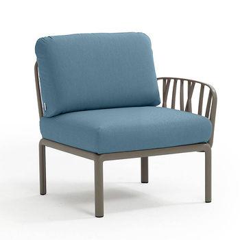 Кресло модуль правый / левый с подушками Nardi KOMODO ELEMENTO TERMINALE DX/SX TORTORA-adriatic Sunbrella 40372.10.142