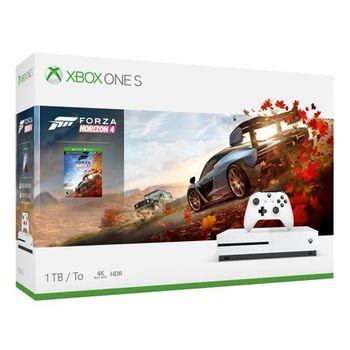 Game Console  Microsoft Xbox One S 1TB White + Forza Horizon 4, 1 x Gamepad (Xbox One Controller), 1 x Game (Forza Horizon 4)