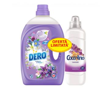 cumpără Set Dero Lichid 2in1 Levănţică şi Iasomie, 2 L + Coccolino Lavender, 925 ml Gratis în Chișinău