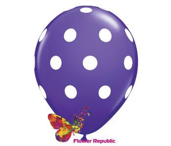 купить Воздушный шар фиолетовый  с рисунком Горошек - 30 см в Кишинёве