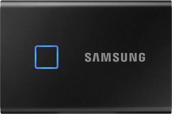 M.2 External SSD 2.0TB  Samsung T7 Touch USB 3.2, Black, USB-C, Fingerprint Security, Includes USB-C to A / USB-C to C cables, Sequential Read/Write: up to 1050/1000 MB/s, V-NAND (TLC), Windows/Mac/PS4/Xbox One compatible, Light, Portable, Durable