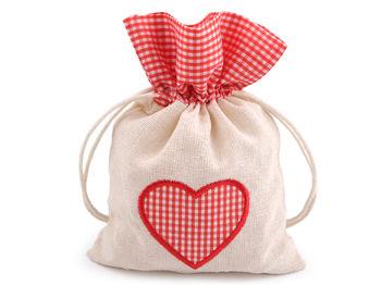 Săculeț cadou, motiv inimioară