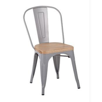 купить Металлический стул с деревянным сиденьем, 530x480x1250 мм, белый в Кишинёве