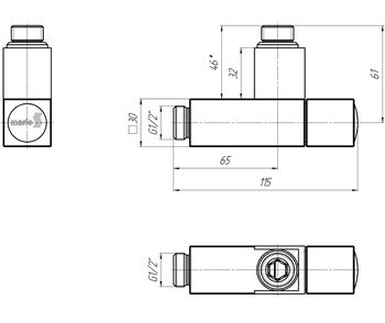 Кран угловой квадрат, G1/2 комплект 2шт