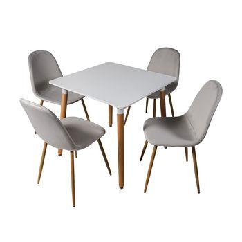 DT E10 белый столовый набор + 4 серых велюровых стула DC 6001