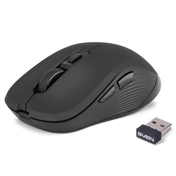 SVEN RX-560SW Wireless, Optical Mouse, 2.4GHz, Nano Receiver, 800/1200/1600dpi, 5+1(scroll wheel) Silent buttons, Switching DPI modes, Rubber scroll wheel, Back