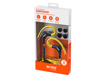 Acme HE17Y Sports & action earphones with microphone & in-line control, Yellow, 20Hz-20KHz, 94dB, 16 Ohm, 1.2m (casti cu microfon/наушники с микрофоном), www