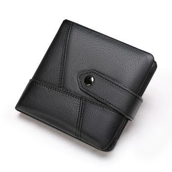 купить Mужской kошелек унисекс из натуральной кожи для денег и карт, чёрный в Кишинёве