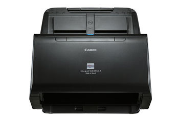 Document Scanner Canon DR-C240, ADF (60 sheets -80g/m2), 3-colour (RGB) LED, CMOS CIS 1 Line Sensor,  Front/ Back/ Duplex, A4,B&W 45ppm/90ipm - colour 30ppm/60ipm,27–209g/m2,600 x 600dpi, 24-bit colour, Daily Duty Cycle: 4000 scans/day,USB 2.0,W1,8kg