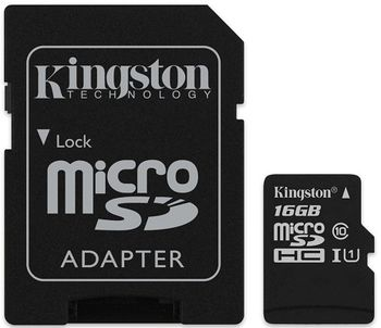 Kingston 16GB microSDHC Canvas Select Class10 UHS-I with SD adapter, 400x, Up to: 80MB/s