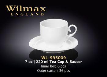 Чашка WILMAX WL-993009R/2C (с блюдцем 220 мл/набор 2 шт)