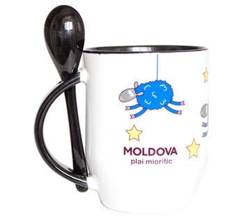 купить Кружка с ложкой – Moldova plai mioritic в Кишинёве