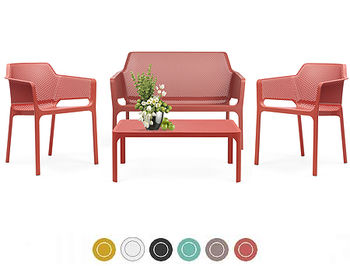 Set mobila de terasa NARDI NET BENCH + 2 fotolii NET + Masa NET TABLE 100 + Saltele scaune