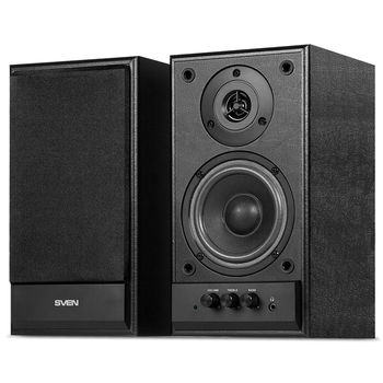 """SVEN SPS-702 Black leather,  2.0 / 2x20W RMS, headphone jack, wooden, (4""""+3/4"""")"""