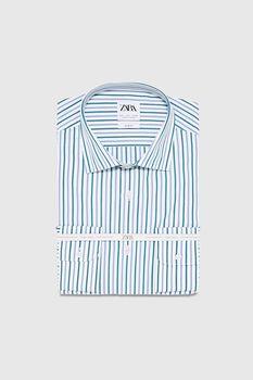 Рубашка ZARA Белый в полоску zara 5588/303/400