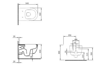 Подвесной унитаз + биде 2 в 1 V Tondo WC rimless с крышкой soft close
