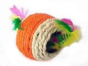 купить Игрушка веревочная с перьями, разные цвета, R1006-4 в Кишинёве
