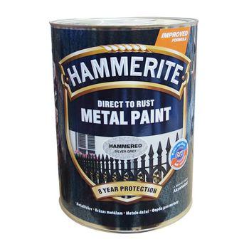 Hammerite Краска для металла Серебристо-серая молотковая 5л