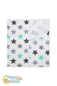 купить Пеленка байковая (100х80 см) мятные/серые звезды в Кишинёве