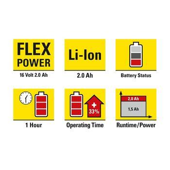 купить Дополнительный аккумулятор Flexpower 16 В 2,0 Ач - можно использовать с различными инструментами Trotec в Кишинёве