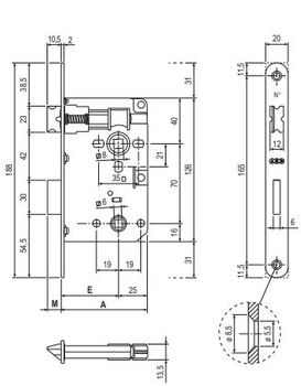 Замок WC AGB Patent Piccola + ответная планка матовая бронза