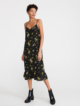 Платье RESERVED Черный в цветочек