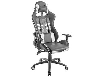 Lumi Gaming Chair with Headrest & Lumbar Support CH06-6, Black/White, 2D Armrest, 350mm Black Painting Metal Base, 60mm Nylon Caster, 80mm Class 3 Gas Lift, Weight Capacity 150 Kg
