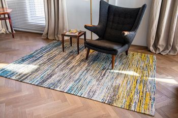 Ковёр ручной работы LOUIS DE POORTERE Sari Rug Blue Yellow Mix 8873