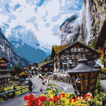 "PN2708 Artissimo картина ""Цветущая Швейцария"", 4 *, 23 цветов, 40х50 см"