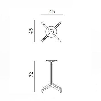 Picior (baza) de masa aluminiu Nardi BASE FRASCA MINI FIX vern. agave 53366.00.000