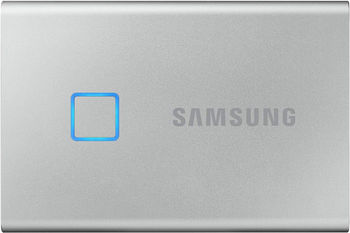 M.2 External SSD 1.0TB  Samsung T7 Touch USB 3.2, Silver, USB-C, Fingerprint Security, Includes USB-C to A / USB-C to C cables, Sequential Read/Write: up to 1050/1000 MB/s, V-NAND (TLC), Windows/Mac/PS4/Xbox One compatible, Light, Portable, Durable