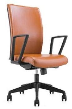 Мягкий коженый офисный стул, черный