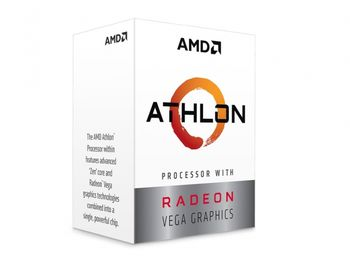 AMD Athlon 3000G, Socket AM4, 3.5GHz (2C/4T)  4MB L3, Integrated Radeon Vega 3 Graphics, 14nm 35W, Unlocked, Box