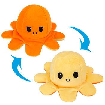 Octopus Plush Reversible, Orange & Yellow
