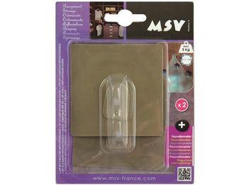 Крючки самоклеющиеся 2шт квадрат 8cm, коричневые, пластик