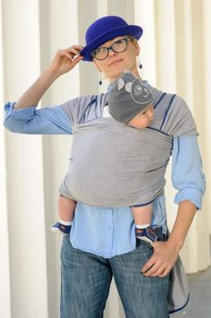 купить Трикотажный слинг шарф Светло серый WrapBag by Bagy в Кишинёве