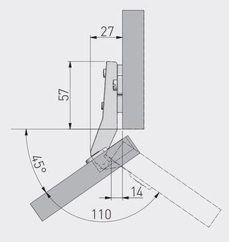 Balama 45° fără amortizor GTV