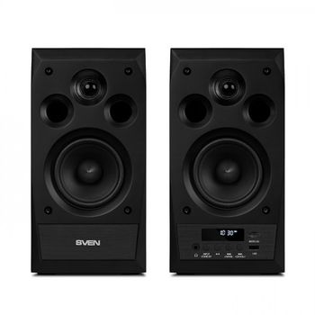 SVEN MC-10 Black,  2.0 / 2x25W RMS, Bluetooth v. 2.1 +EDR, Digital LED display, FM-tuner,  USB flash, SD card, remote control, Headphone input, glossy black front panels, wooden.