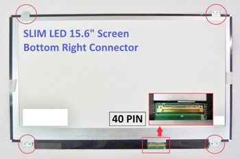 "Display 15.6"" LED Slim 40 pins HD (1366x768) Brackets Up-Down Glossy ECO LTN156AT30 LP156WH3 B156XW04 V.5 LTN156AT35 N156BGE-L41 NT156WHM-N10 LP156WHB"