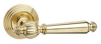 Дверная ручка на розетке Michelle полированная латунь  + накладка под цилиндр