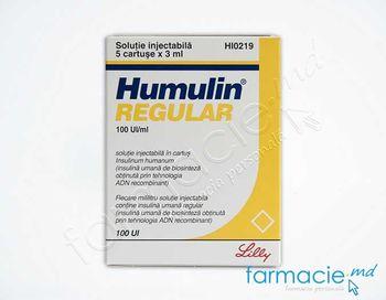 купить Humulin® Regular sol. inj. in cartus 100 UI/ml 3 ml N5 в Кишинёве