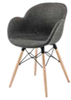 купить Пластиковый стул с обивкой, деревянные ножки 600x580x840 мм, темно- бежевый в Кишинёве